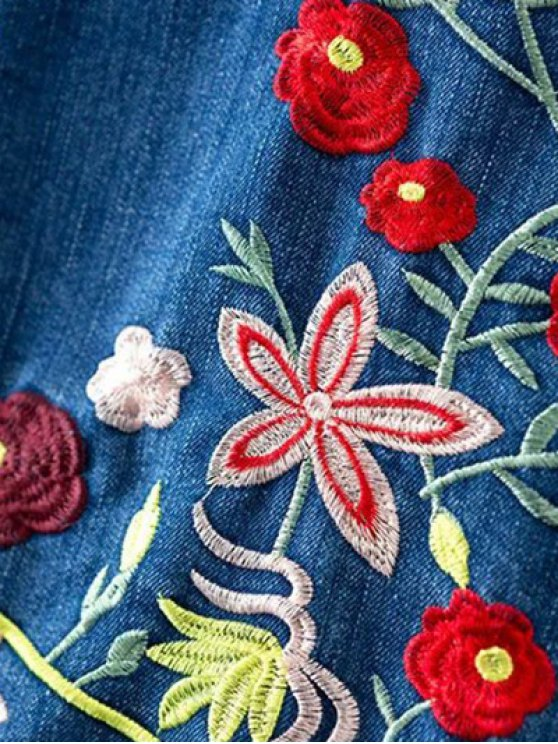 Floral Embroidery Shirt Neck Ripped Denim Jacket - BLUE M Mobile
