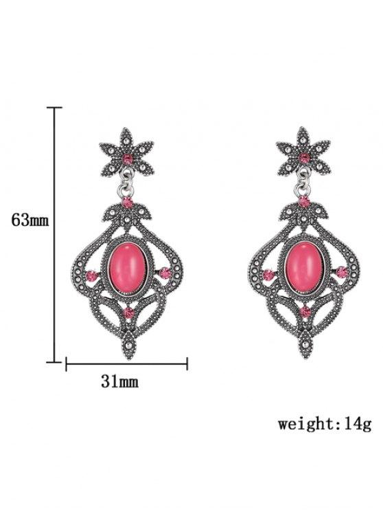 Rhinestone Floral Earrings - RED  Mobile