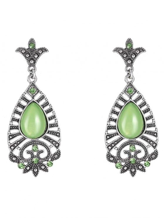 sale Water Drop Leaf Earrings - GREEN
