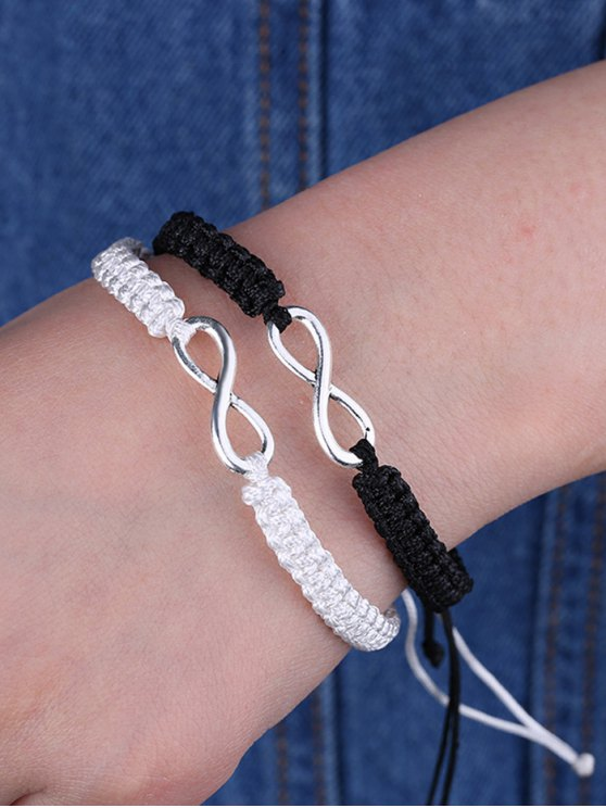 Infinity Woven Bracelets - WHITE AND BLACK  Mobile