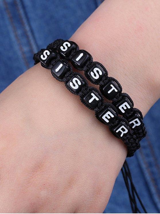 Letters Sister Woven Bracelets -   Mobile