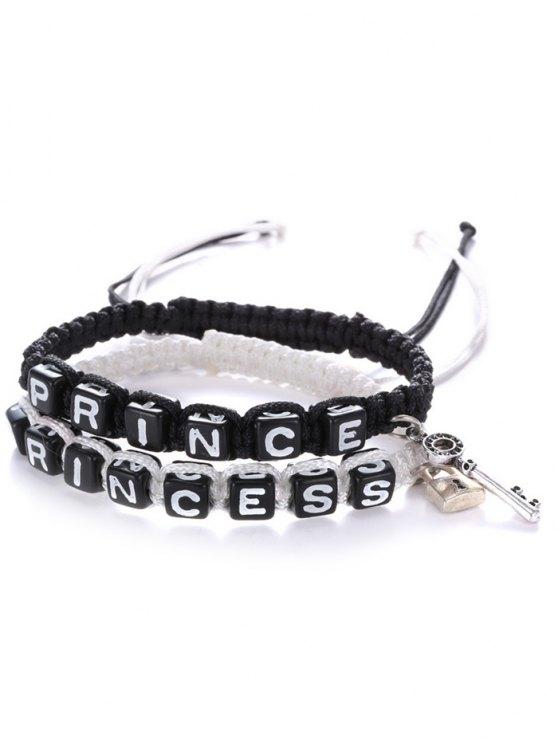 Pulseras tejidas Princess Prince letras - Blanco y Negro