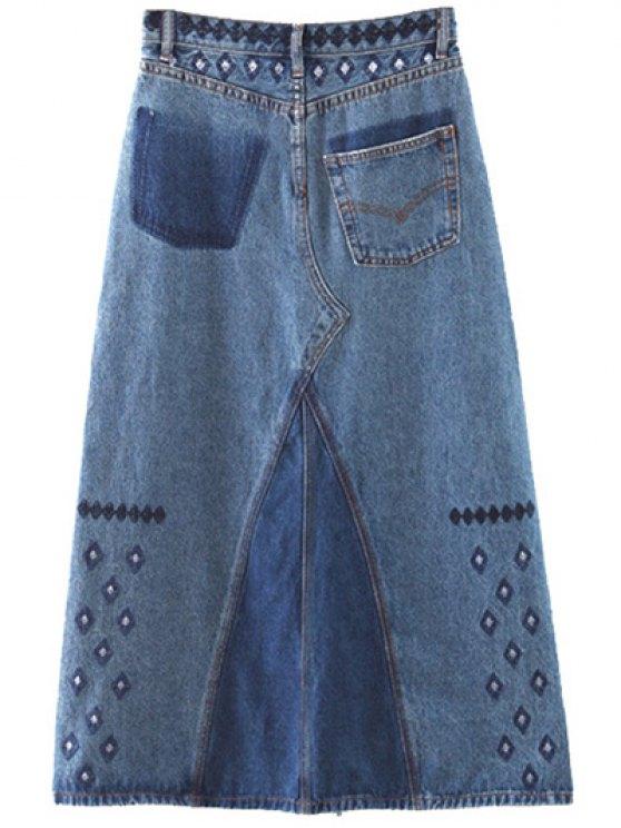 Side Slit Embroidery Denim A Line Skirt - DENIM BLUE M Mobile