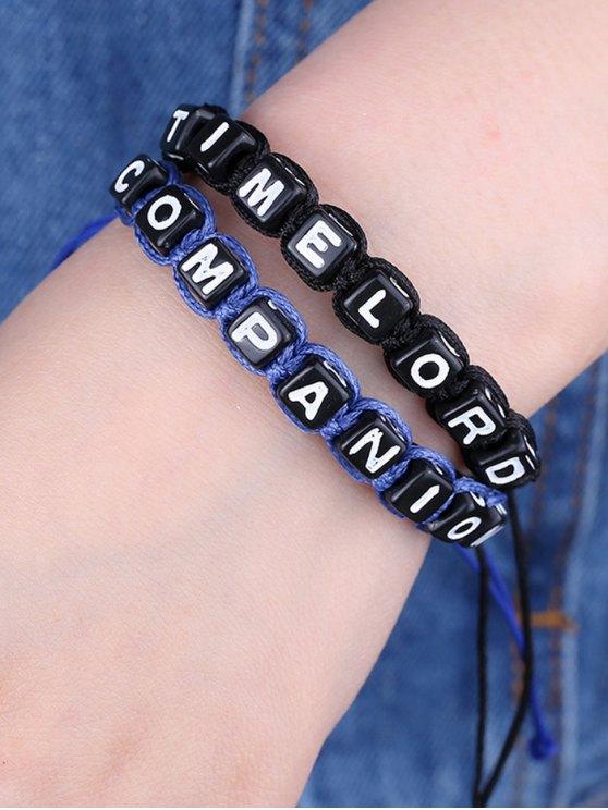 Lettres temps seigneur compagnon Bracelets - Bleu et Noir