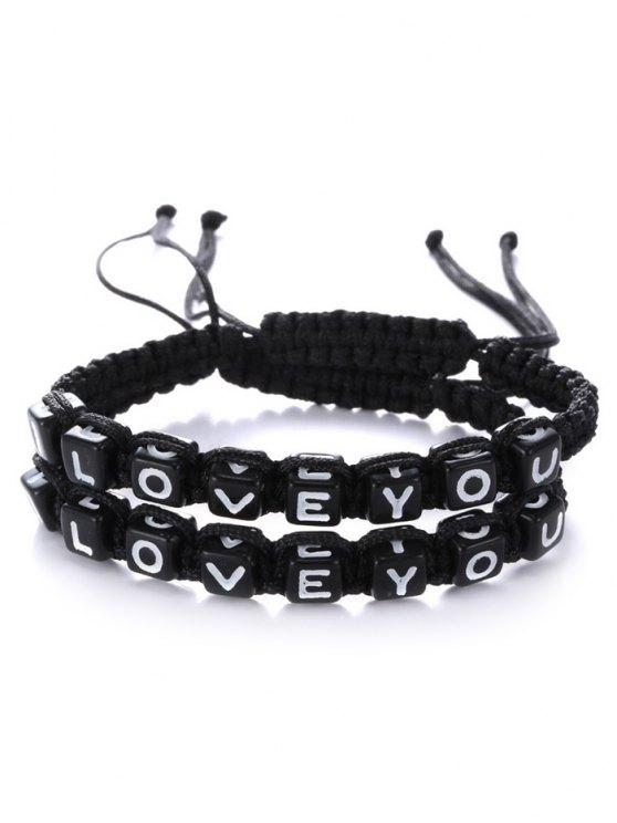 Letters I Love You Bracelets - BLACK  Mobile