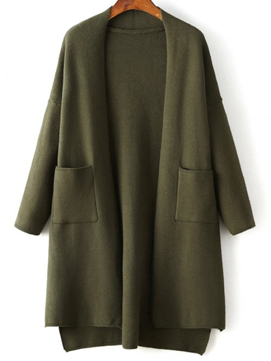 Solid Color Long Sleeve High Low Cardigan - ARMY GREEN ONE SIZE Mobile