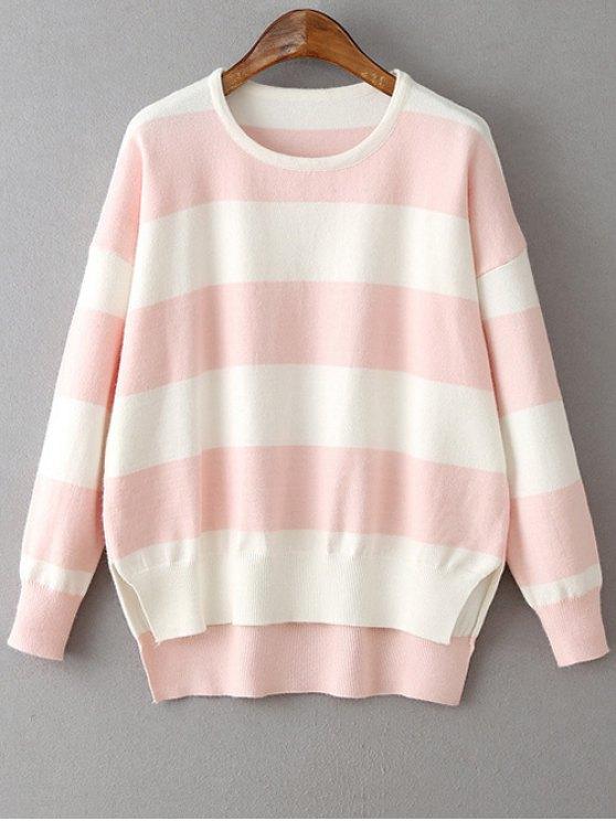 latest High Low Hem Round Neck Striped Sweater - LIGHT PINK ONE SIZE