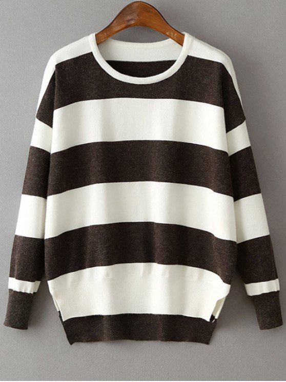 High Low Hem Round Neck Striped Sweater - DEEP GRAY ONE SIZE Mobile