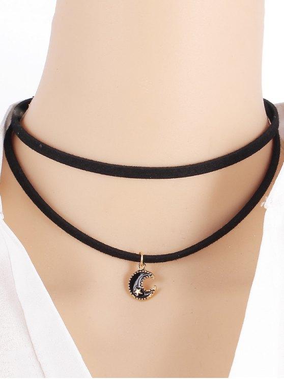 women Moon Star Necklace - BLACK