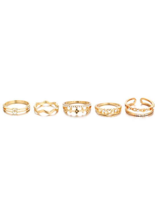 Rhinestone Heart Rings - GOLDEN ONE-SIZE Mobile