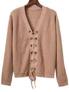 Lace Up Solid Color V Neck Sweater - Kaki Foncé