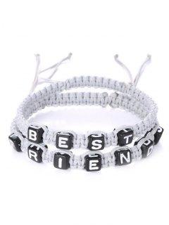 Letters Best Friend Woven Bracelets - White