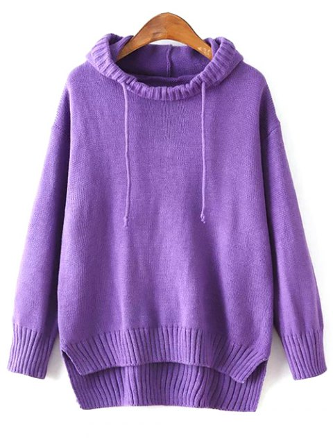 sale Hooded Uneven Hem Sweater - PURPLE ONE SIZE Mobile