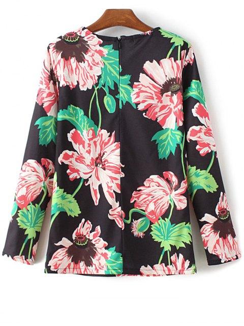new Round Neck Floral Print Sweatshirt - BLACK M Mobile