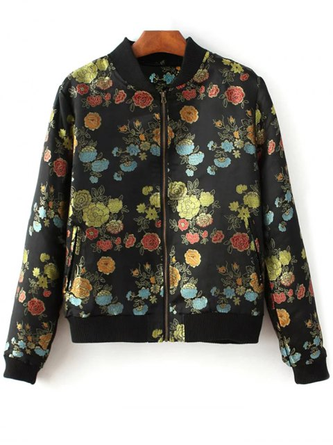 unique Flower Embroidery Zippered Bomber Jacket - BLACK L Mobile