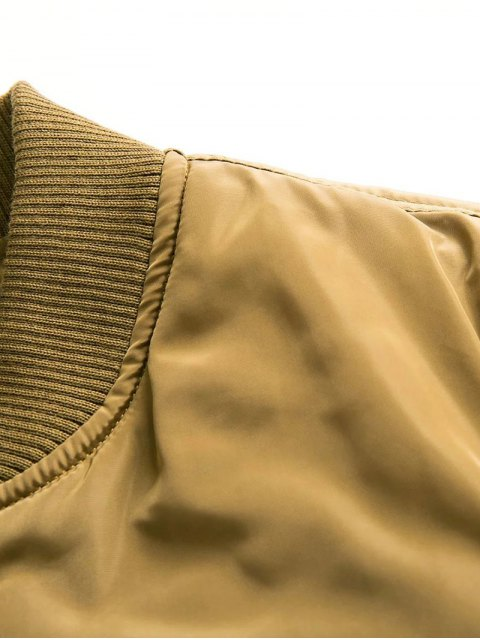 best Button Embellished Solid Color Stand Neck Zipper Jacket - ARMY GREEN M Mobile