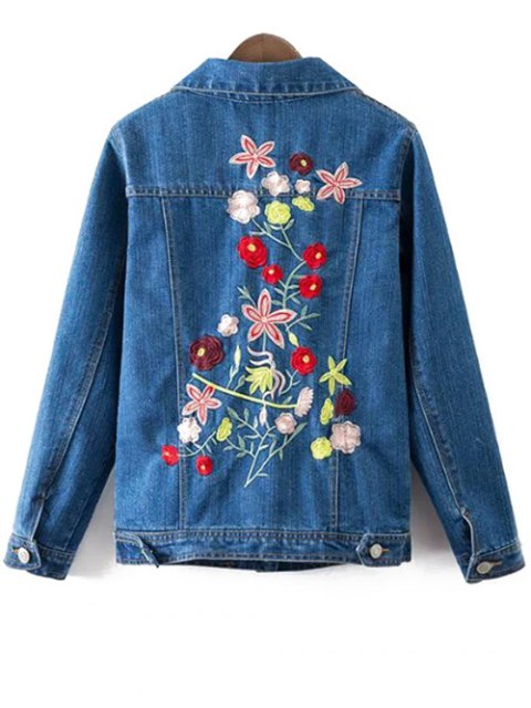 trendy Floral Embroidery Shirt Neck Ripped Denim Jacket - BLUE L Mobile