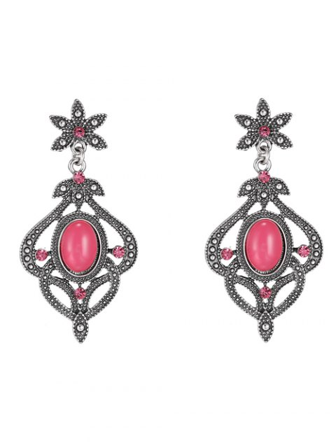 fashion Rhinestone Floral Earrings - RED  Mobile