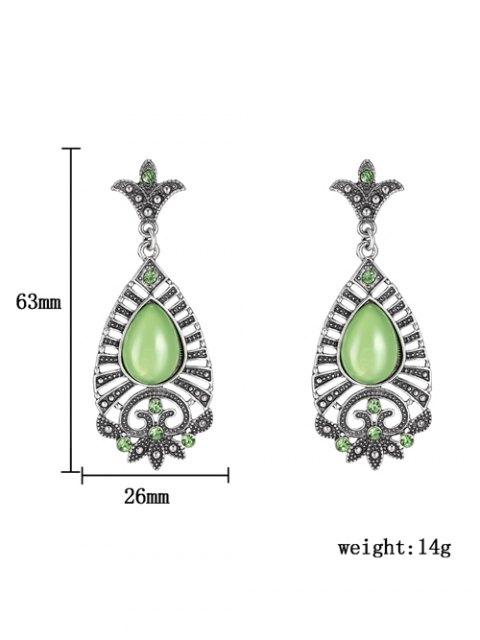 sale Water Drop Leaf Earrings - GREEN  Mobile