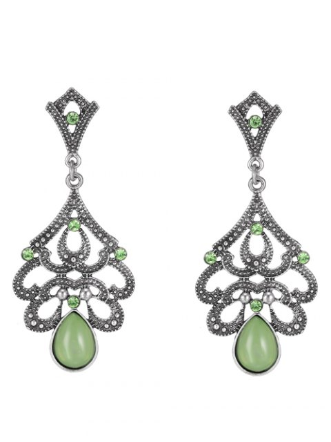 affordable Water Drop Beads Earrings - GREEN  Mobile