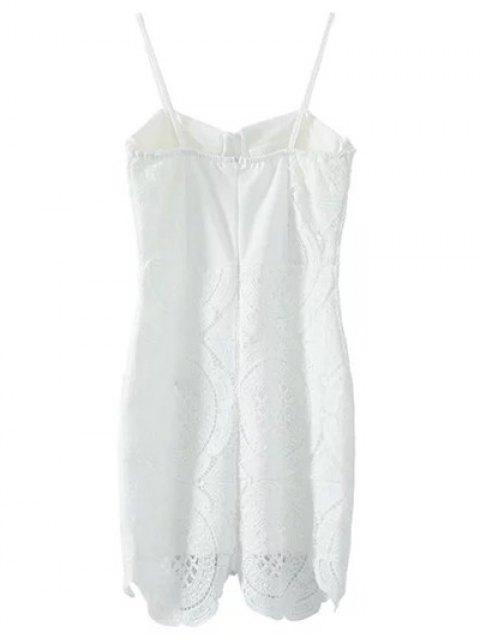 shops Lace Spliced Spaghetti Straps Padded Dress - WHITE M Mobile