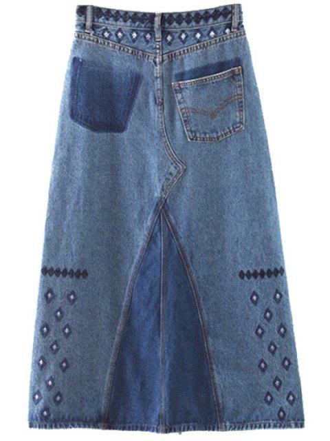 hot Side Slit Embroidery Denim A Line Skirt - DENIM BLUE M Mobile