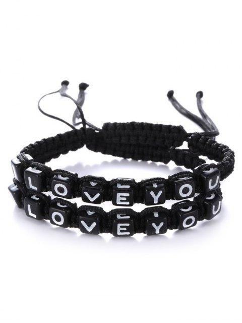 women Letters I Love You Bracelets - BLACK  Mobile