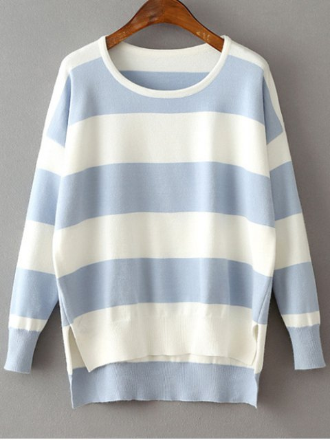 chic High Low Hem Round Neck Striped Sweater - LIGHT BLUE ONE SIZE Mobile