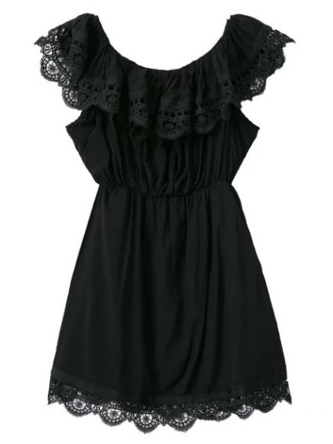 fancy Lace Trim Ruffles Mini Dress - BLACK M Mobile