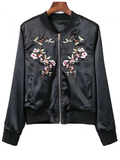 sale Stand Neck Pockets Floral Embroidery Jacket - BLACK S Mobile