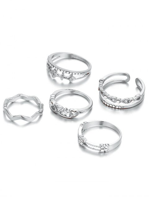 women's Rhinestone Heart Rings - SILVER ONE-SIZE Mobile