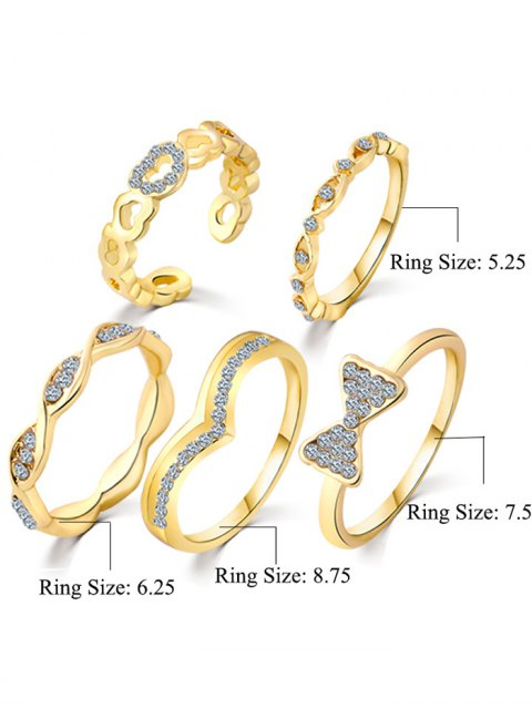 lady Bowknot Rhinestone Heart Rings - GOLDEN ONE-SIZE Mobile