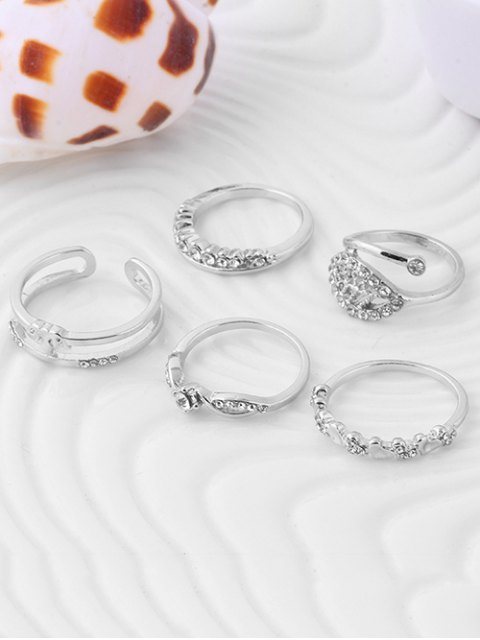 ladies Crown Leaf Wedding Jewelry Rings - SILVER ONE-SIZE Mobile