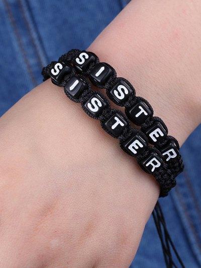 Letters Sister Woven Bracelets - BLACK  Mobile