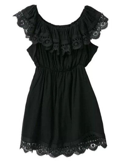 Lace Trim Ruffles Mini Dress - BLACK M Mobile
