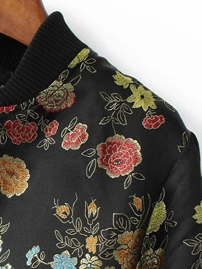 Flower Embroidery Zippered Bomber Jacket - BLACK S Mobile