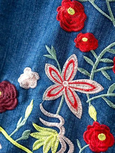 Floral Embroidery Shirt Neck Ripped Denim Jacket - BLUE S Mobile