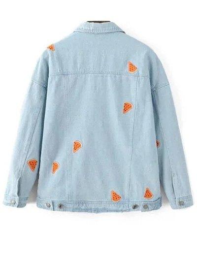 Watermelon Embroidery Denim Jacket - LIGHT BLUE M Mobile