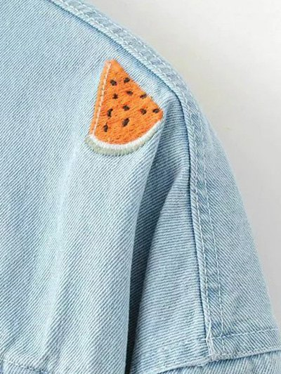 Watermelon Embroidery Denim Jacket - LIGHT BLUE S Mobile