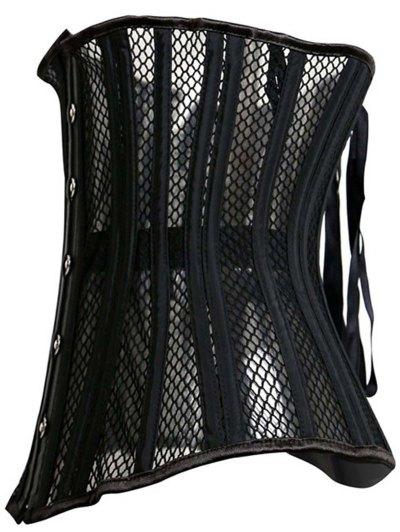 Underbust Strapless Hollow Out Black Corset - BLACK XL Mobile