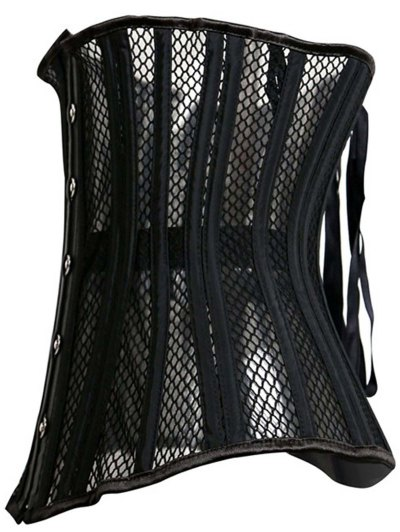 Underbust Strapless Hollow Out Black Corset - BLACK L Mobile