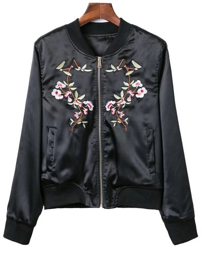 Stand Neck Pockets Floral Embroidery Jacket - Black