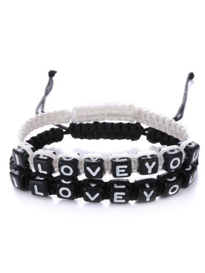Letters I Love You Bracelets - WHITE AND BLACK  Mobile