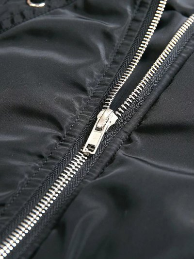 Lace Up Stand Neck Zipper Jacket - BLACK L Mobile