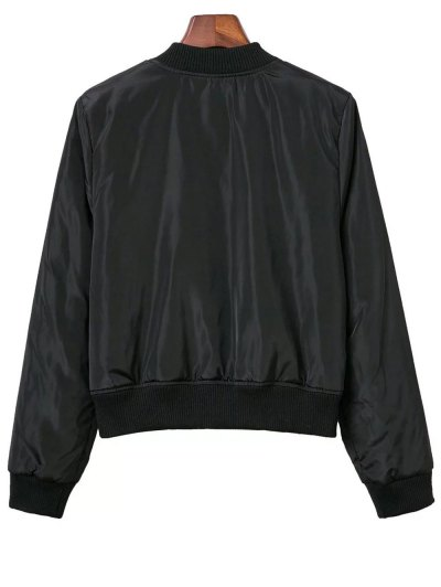 Lace Up Stand Neck Zipper Jacket - BLACK S Mobile