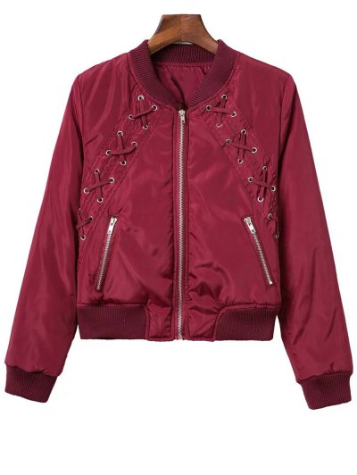 Lace Up Stand Neck Zipper Jacket - Wine Red