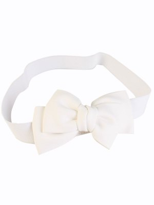 Big Bowknot Wide Elastic Belt - White