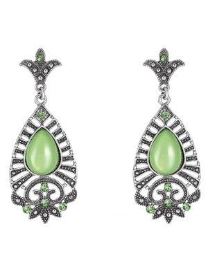 Water Drop Leaf Earrings - Green