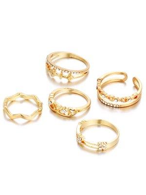 Anillos De Diamantes De Imitación Del Corazón - Dorado