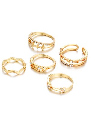 Rhinestone Heart Rings - Golden